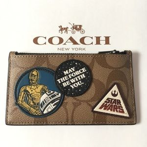 COACH X Star Wars Signature Canvas Zip Card Case